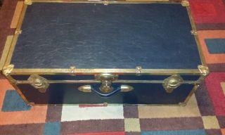 Vtg Black Long Lock Trunk Luggage W/o Keys Coffee Table Chest 30x16x12 photo