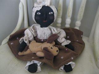 Primitive Doll Black Mammy Folk Art Puppy Debbiesfromtheheart photo