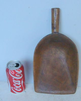 19th C Hand Carved Maple Grain Scoop, photo
