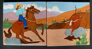 Rare American Arts Crafts San Jose Art Pottery Tile Roping Cowboy Texas Big 7.  8