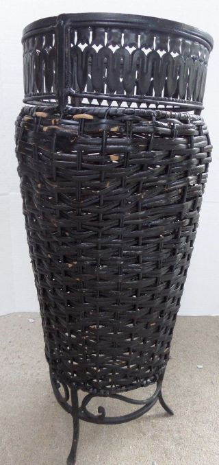 Lovely Antique Black Wrought Iron Umbrella Cane Stand W Wicker Shabby Paint photo