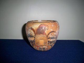 Antique Native American Indian Hopi Pottery Polychrome Bird Vase Bowl 5