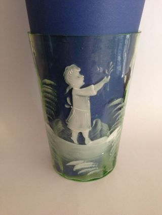 Antique Late 1800 ' S Green Mary Gregory Tumbler Glass Girl With Flowers photo