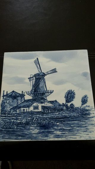 Mettlach Blue & White Windmill Tile/trivet photo