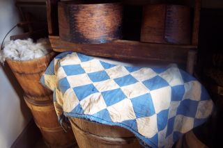 Early Antique Primitive Blue And Cream Child ' S Quilt Hand Sewn photo