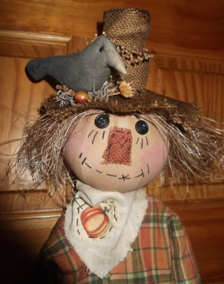 Primitive Scarecrow With Pumpkin And Crows Fall Autumn Harvest Folk Art photo