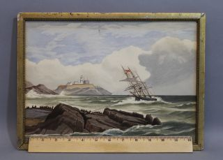 Small 1902 Antique W.  Reid Seascape Maritime Ship Rescue Watercolor Painting photo