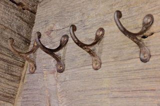 "4 Single Coat Hooks 2"" Vintage 1850 ' S Farm School House Wardrobe Old Rustic Iron photo"