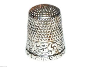 Antique Star Sterling Silver Sewing Thimble Scrolling Fauna Border Sz 11 photo