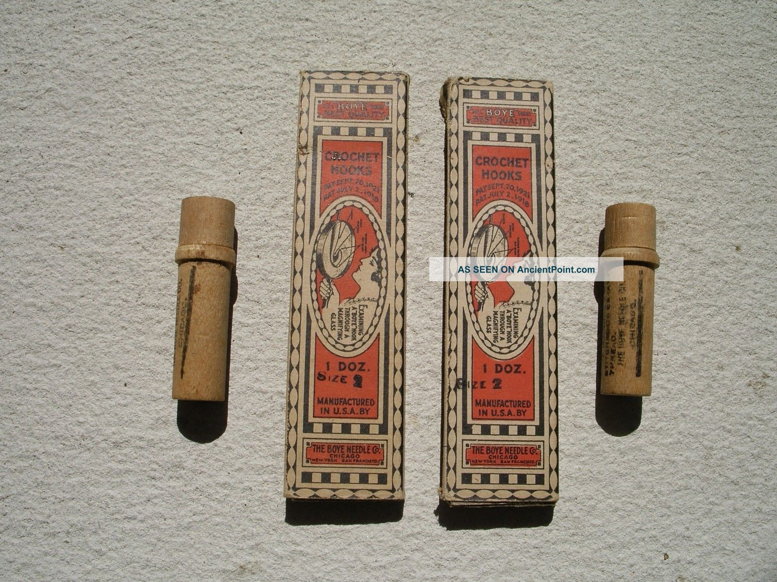 Antique Boyle Needle Company Crochet Hooks In Cases Wooden Needle Cases Needles & Cases photo