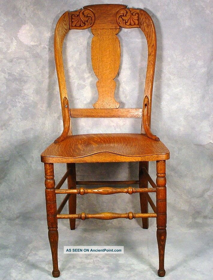 Antique oak wood dining chair carved back wood seat 1900 1950 photo 2