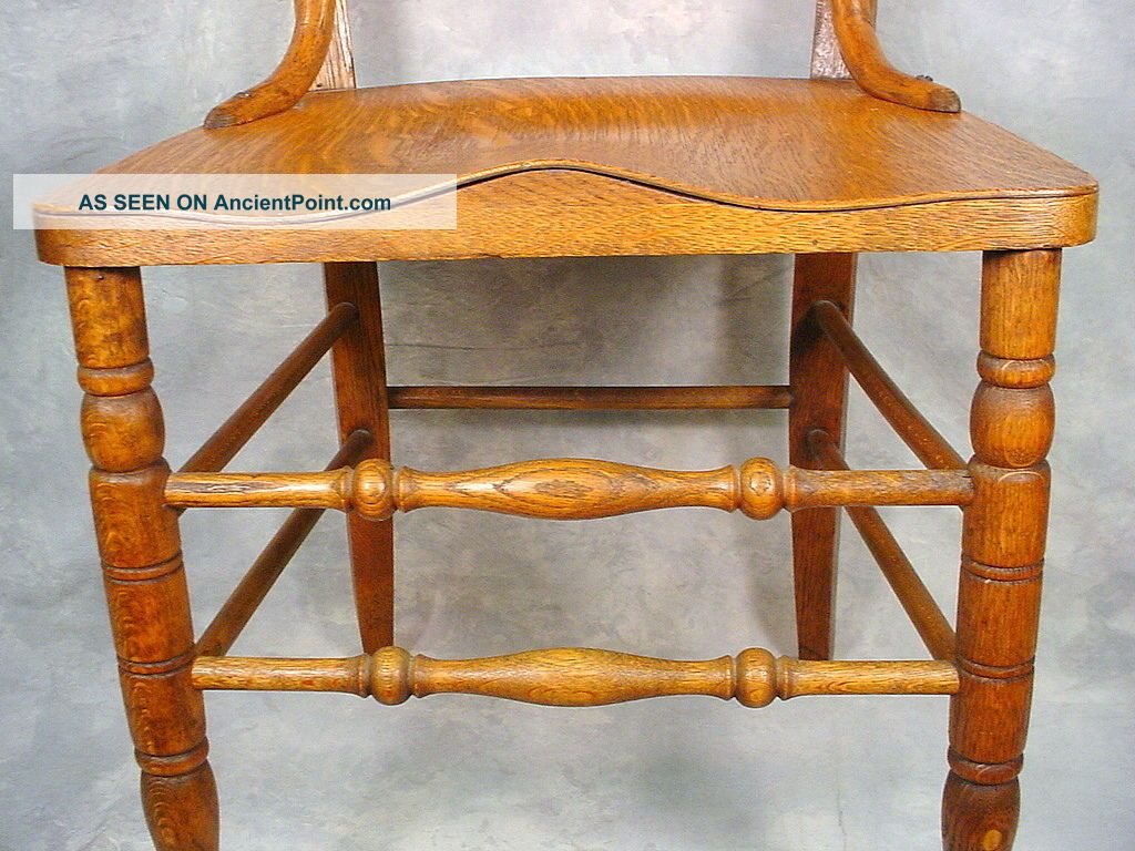 Antique oak wood dining chair carved back wood seat 1900 1950 photo 4