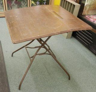 Industrial Steam Punk Folding Drafting Drawing Table Vintage Metal Legs Desk photo
