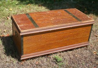 Vintage Cedar Hope Chest Very Early With Metal Straps photo