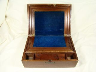 Antique Lap Travel Desk Blue Velvet Lining - Excelsior Drug Store Bw Huntley photo