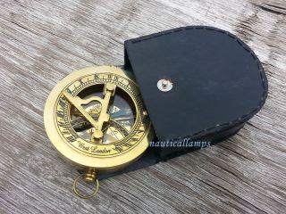 Maritime Dollond London Nautical Brass Sundial Compass Brass W Leather Box photo