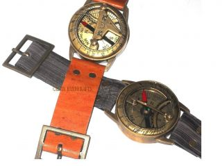2 Different Color Red & Black Brass Wrist Watch Sundial Compass - Gifted Compass photo