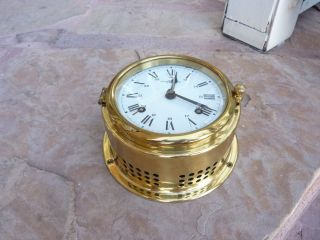 Vintage Brass Marine Ship Clock Wempe Chronometerwerke Hamburg Germany photo