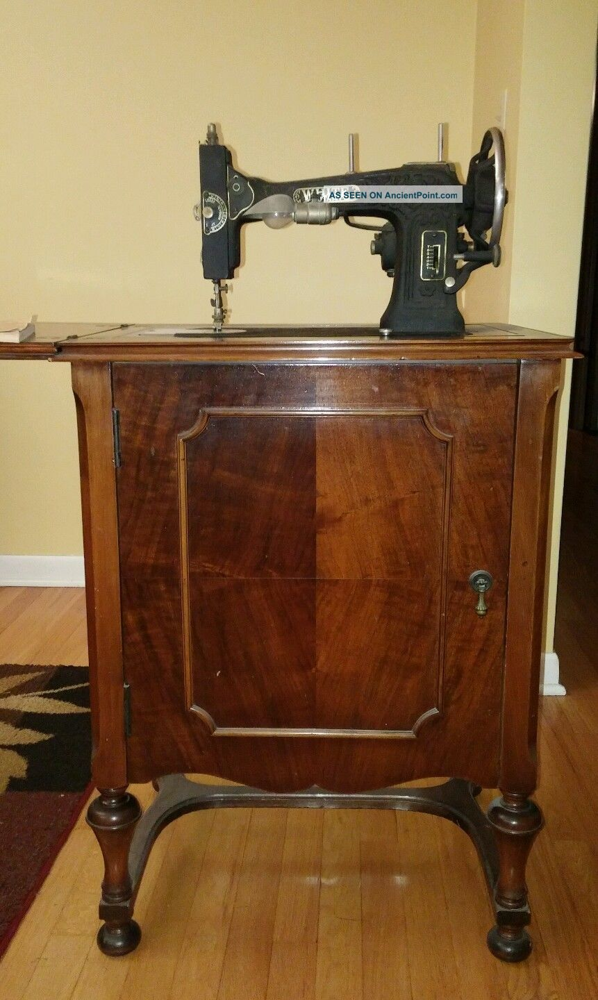 1929 White - Rotary Electric Sewing Machine In Wood Cabinet - Sewing Machines photo
