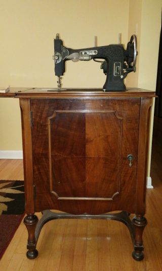 1929 White - Rotary Electric Sewing Machine In Wood Cabinet - photo