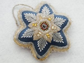 Antique Iroquois1920 ' S Star Shape Beaded Blue & Rust Color Whimsie Pin Cushion photo