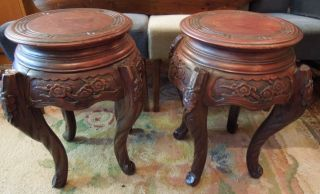 Antique Chinese/japanese Urn Stands,  Carved Hardwood photo