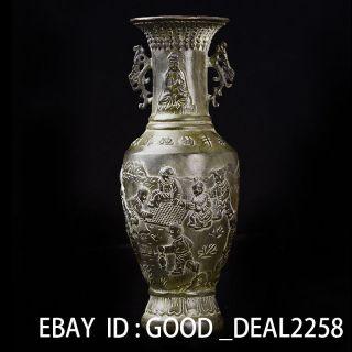 Delicate Chinese Bronze Handwork Vases —— Kuan - Yin & Children W Ming Xuande Mark photo
