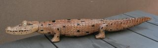 Guinea Carved Wooden Crocodile Old photo