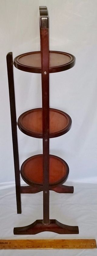 Antique Wood 3 Tier Folding Dessert Stand Table For Pie Cake Pastries photo