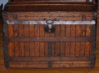 Antique 1870 ' S Oak Slat Domed Trunk photo