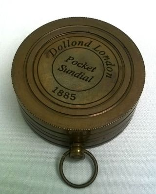 1885 Vintage Repro Dolland Mechanical Brass Pocket Sundial photo
