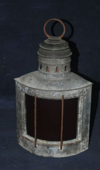 Vintage Maritime Ship Corner Lantern W/red Ruby Glass Lens – Dietz photo