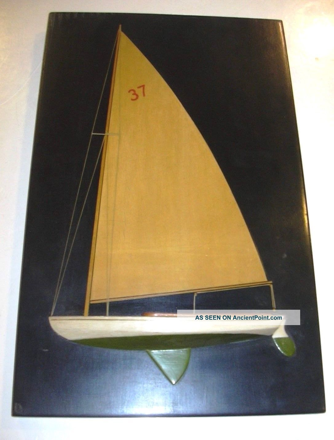 A.  Hennessey Marblehead Mass Handmade Folk Art Sailboat Half Hull 1921 Model Ships photo