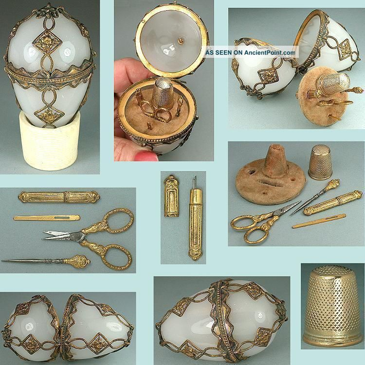 Antique Glass Egg Sewing Etui W/ Gilded Tools & Thimble French Circa 1850 Other Antique Sewing photo