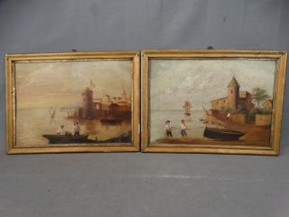 (2) Antique 19thc Primitive Fisherman Clipper Ship Seascape Folk Art Painting photo