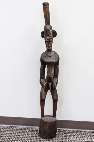 African Carved Wood Male Tribal Statue From West Africa 4ft Authentic photo