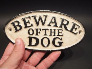 Vintage Antique Style Cast Iron Beware Of The Dog Warning Sign W Raised Letters photo