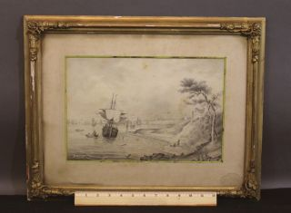 Antique 18thc Maritime Nautical Folk Art Drawing,  Sailing Ships Harbor,  Nr photo