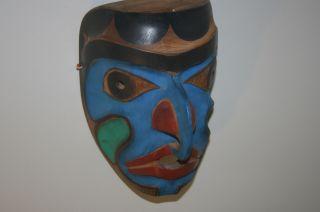 Old Carved Cedar Northwest Coast Mask Primitive Folk Art Antique Paint photo