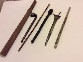 Group Of 6 Ethnographic Tribal Clubs Daggers Stick Baton No Sword photo