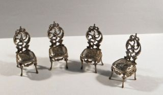 Four Victorian Sterling Silver Miniature Chairs; E.  T.  Bryant; 1897 photo