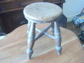 Antique Hand Turned Stool Hand Turned Probably Victorian Or Earlier photo