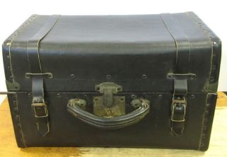 Ooak 1800 ' S Locking Leather Trunk John Dovell 1 Walla Walla Washington Territory photo