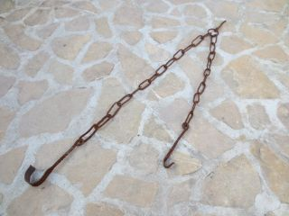 Primitive Antique 18th C Wrought Iron Hearth Chain Trammel Forged 1 photo