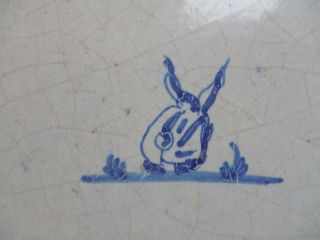 Delft Decorative Tile.  18th Century.  A Rabbit. photo