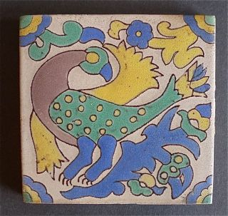 Gladding Mcbean Antique Stylized Parrot Tile photo