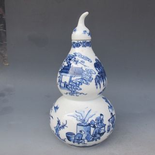 Chinese Blue And White Hand - Painted Gourd Shape Pot W Qing Dynasty Qianlong Mark photo