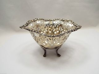 Antique Sterling Silver Pierced Small Serving Dish,  Mathews & Prior photo