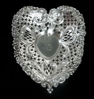 Large Gorham Sterling Silver 10 Inch 244 Gram Reticulated Heart Shaped Dish photo