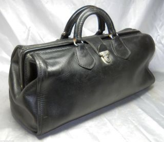 Vintage Large Reinforced Frame Medical Black Doctor ' S Bag Cowhide Leather Nurse photo